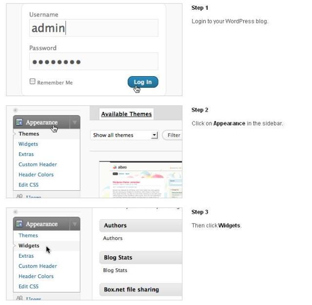 Pasos 1 a 3 de la inclusión del widget de recomendación en redes sociales